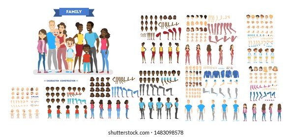 Big family character set for the animation with various views, hairstyle, emotion, pose and gesture. African american mother, father and children. Isolated illustration in cartoon style