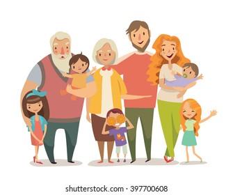 Big family portrait. Mother, father daughter, son, babies, grandparents