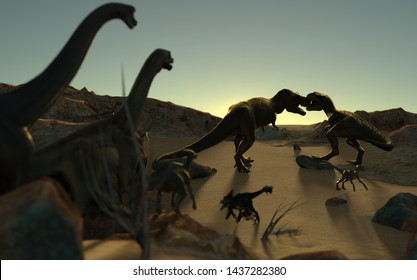 Big fight from two angry t-rex outdoor 3d render