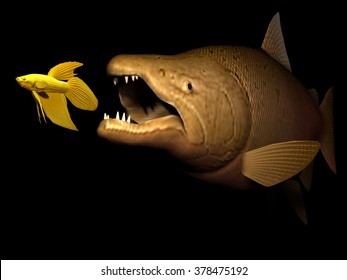 big fish eat small fish, the strong overwhelm the weak, striving for existence, existential battle,