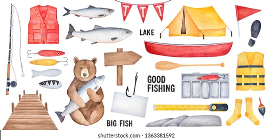Big Fishing Collection of various fishing tools, brown bear character, yellow tent, wooden signboard, fishhook with paper note, red boat. Handdrawn watercolour drawing, cutout design clipart elements.