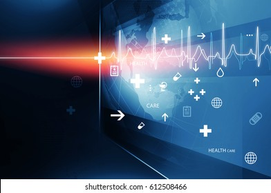 Big Flat Screen With Health Symbols and Heartbeat Diagram, Suitable for Health care and Medical News Topic. 3d Illustration