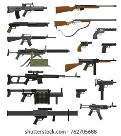 Big flat set of various weapons guns pistols and rifles isolated on white background  illustration