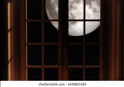 Big full moon in the night sky outside the window. 3d rendering. Elements of this image furnished by NASA.