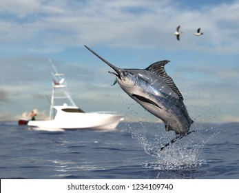 Big game fishing time, big swordfish marlin  jumped hooked by sport fishing angler, fishing boat 3d render