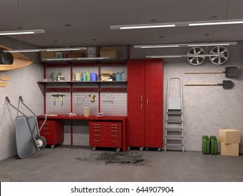 big garage interior with concrete walls 3d illustration