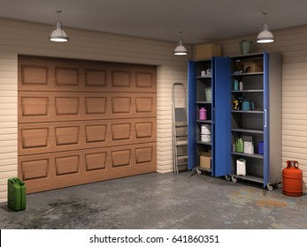 big garage interior with garage doors, 3d illustration