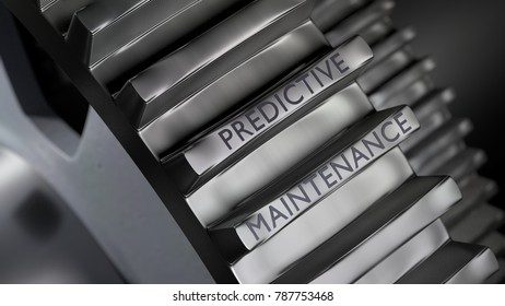 Big gears in metal with the words predictive maintenance 3D illustration