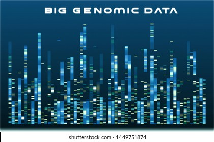 Big Genomic Data in Bioinformatics Cloud. Graphic template in blue  monochromatic tones of big genomic data visualization, DNA test and genome map sequence.