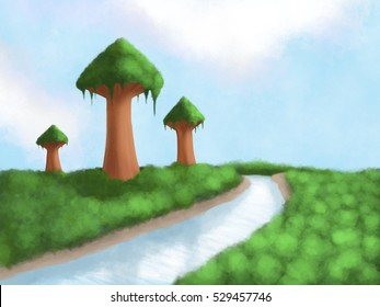 Big Giant Tall Trees Tower Over Forest Background Illustration