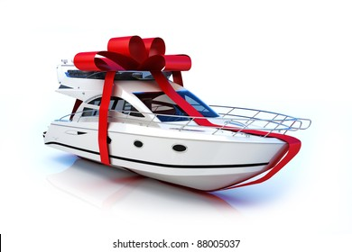 The big gift, Boat with red bow, isolated on a white background,Part of a series. 300 D.P.I 3D model