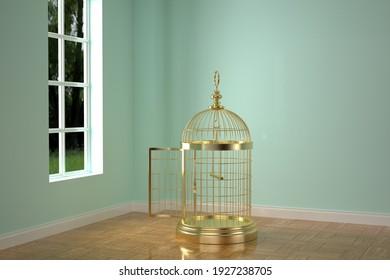 Big golden birdcage in the room, 3D rendering. 3D illustration.