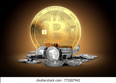 Big golden Bitcoin and small silver Tether coins. Bitcoin dependency on Tether (USDT) concept. 3D rendering