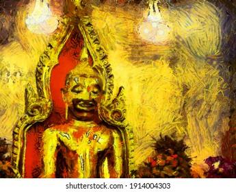 Big golden buddha Illustrations creates an impressionist style of painting.