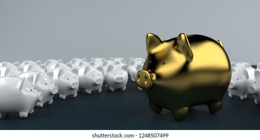 Big golden piggy bank with small white piggy banks on a table. 3d illustration.