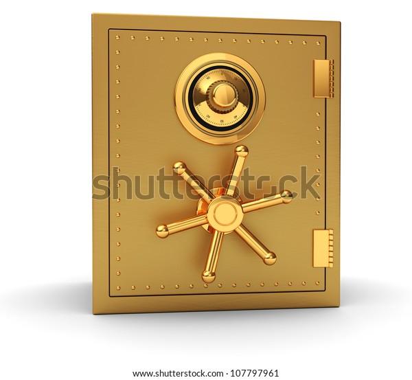 Big golden safe isolated on white background