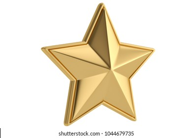 Big golden star on white background.3D illustration