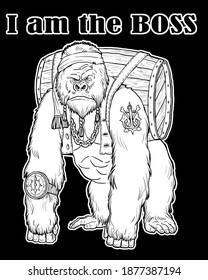 Big gorilla I am the boss. Outline clipart illustration. Monkey and apes pirates coloring sheet.