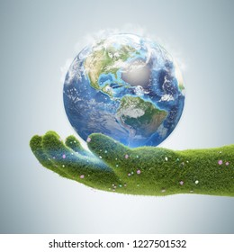 Big grass hand holding earth over gray background. Concept of ecology and environmental protection. 3d rendering. Elements of this image furnished by NASA