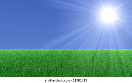 Big green field with grass an a big Sun in the sky