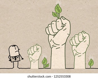 Big Green Hands with Cartoon Character - Protest- illustration on textured brown paper