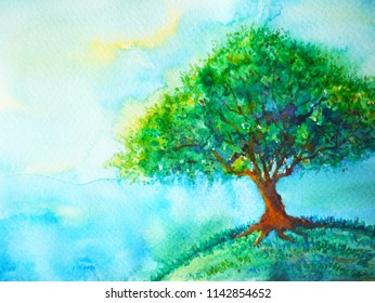 big green tree color on earth planet watercolor painting blue sky light background illustration design hand drawn