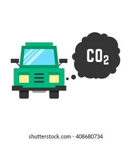 big green truck emits carbon dioxide. concept of smog, pollutant, damage, contamination, garbage, combustion products. isolated on white background. flat style trend modern design illustration