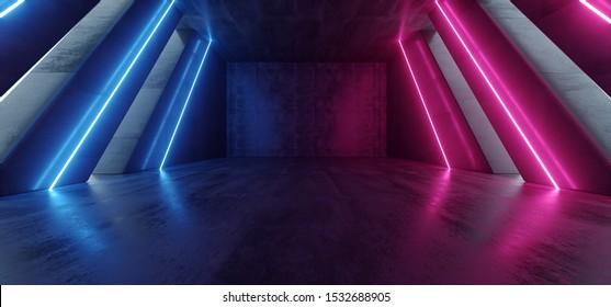 Big Hall Neon Laser Purple Blue Red Lines Beam Futuristic Sci Fi Concrete Cement Columns Tall Huge Reflective Path Gate Empty Underground Garage Realistic Virtual Background 3D Rendering Illustration