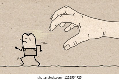 Big Hand with Cartoon Character - Catching and Running- illustration on textured brown paper