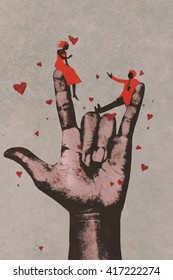 big hand in I LOVE YOU sign with romantic couple,illustration painting