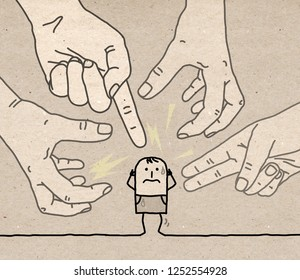 Big Hands with Cartoon Character - Aggression and Paranoia- illustration on textured brown paper