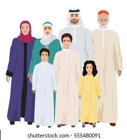 Big and Happy arab Family  illustration