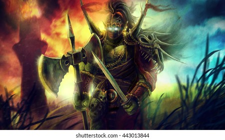 Big heavy orc goblin troll warrior standing on the battlefield illustration