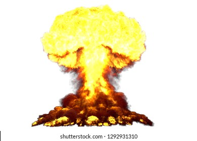 big high detailed mushroom cloud explosion with smoke and fire like from nuke bomb or any other big explosives isolated on white - blast 3D illustration