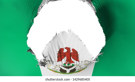 Big hole in Abuja, capital of Nigeria flag, white background, 3d rendering