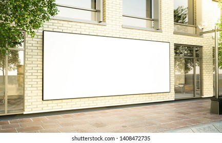 big horizontal poster on the street 3d rendering mockup