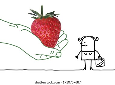 Big human hand giving a strawberry to a cartoon woman with shopping bag