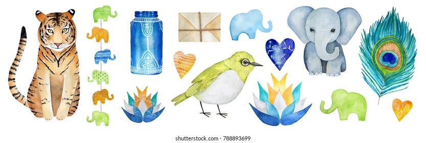 Big Indian Graphic Collection Set. Fauna and flora, love hearts, traditional decorative elements, ornament shapes, culture symbols. Hand drawn watercolour illustration, isolated on white background.