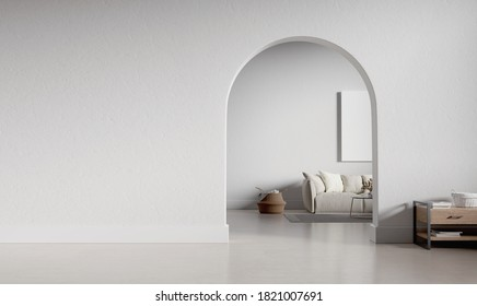 Big interior with large mockup wall and circular arc entrance to another space. Minimalistic style with full of empty space. 3D render illustration.