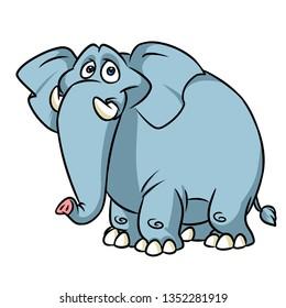 Big kind blue elephant cartoon  animal character illustration isolated image