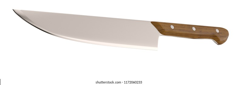 Big kitchen knife  isolated on white background 3D illustration.