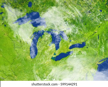 Big lakes. 3D illustration with detailed planet surface. Elements of this image furnished by NASA.