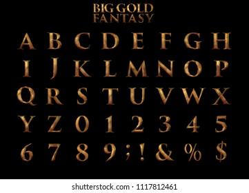 Big Large Gold Fantasy Alphabet - 3D Illustration