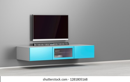Big led tv with soundbar in the living room, 3D illustration