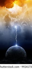 Big lightning hit planet Earth in dark dramatic sky