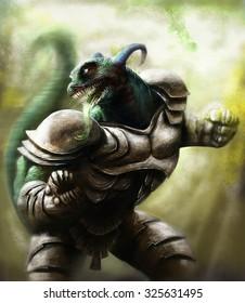 big lizard warrior looking behind him and wearing a steel armor