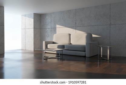 big loft living room corner couch and glass table 3d render illustration