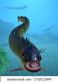 Big long imaginary fish with sharp teeth in the open mouth, swimming near green sebae anemone tentacles against sea floor background. 3d render.