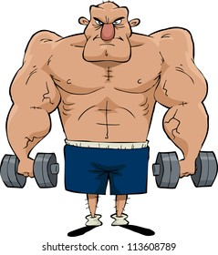 Big man with dumbbells in hand raster version