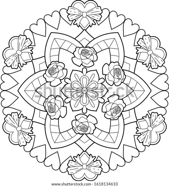 Big Mandala Art Kids Meditation Color Stock Illustration 1618134610